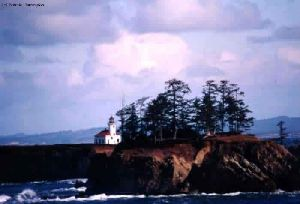 Distance shot of the cliffs and the lighthouse.