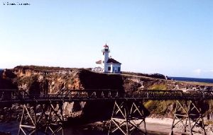A bridge leading to the lighthouse.