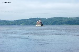 The lighthouse in the middle of the Hudson River.