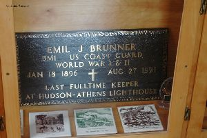 Plaque in honor of Emil J. Brunner, the last keeper.
