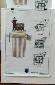 Drawing showing the pilings to hold tower in place.