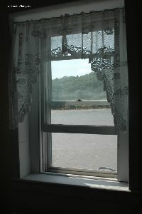Looking out the lighthouse window.