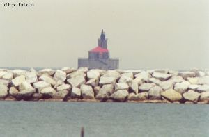 Close up of the lighthouse out in the lake.