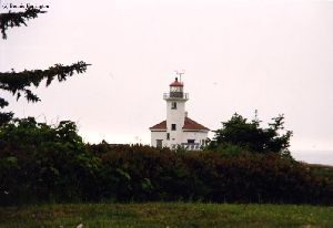 Beautiful close up of the Cape Arago Lighthouse with the light on.