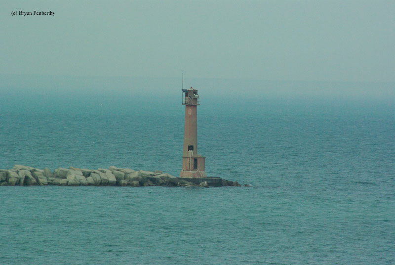 Photo of the Buffington Breakwater Lighthouse.