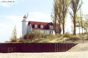 A hardened seawall helps protect Point Betsie.