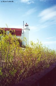 A distance shot of the lighthouse tower.
