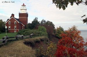 The lighthouse overlooking the bluff.