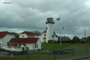 The lighthouse and a flag.