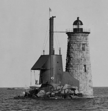 U.S. Coast Guard Archive Photo of the Whaleback Ledge Lighthouse taken in 1950