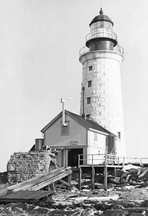 U.S. Coast Guard Archive Photo of the Halfway Rock Lighthouse and boathouse