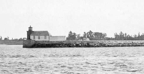 U.S. Coast Guard Archive Photo of the Portland Breakwater Lighthouse showing dwelling