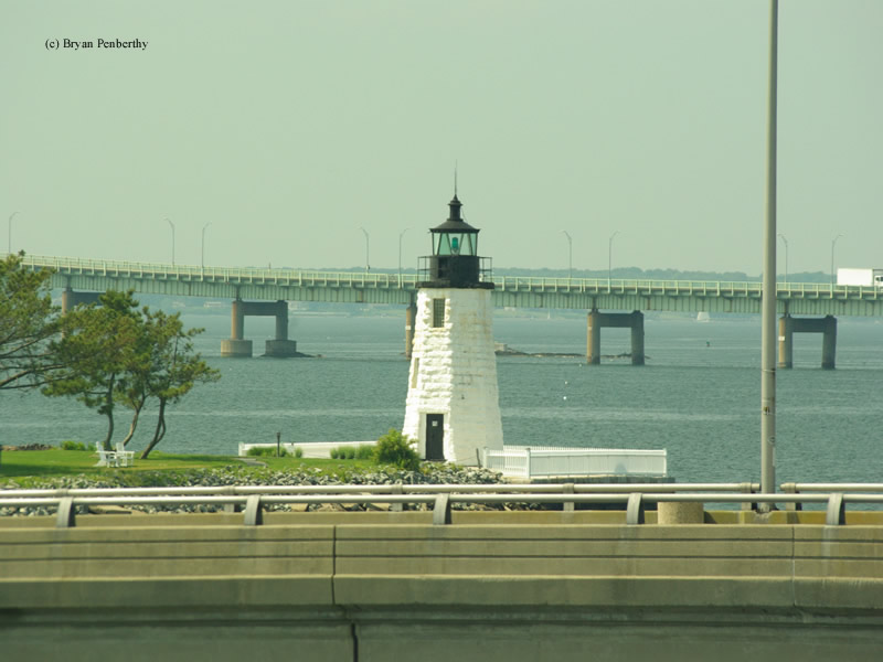 Photo of the Newport Harbor (Goat Island) Lighthouse.
