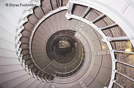 Photo showing the spiral stairs inside the Grays Harbor Lighthouse