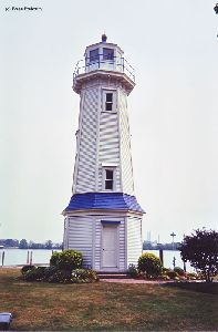 The lighthouse facing the Niagara River.