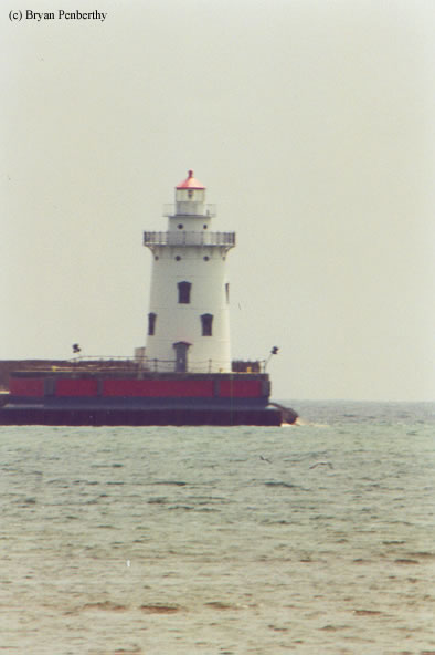Photo of the Harbor Beach Lighthouse.