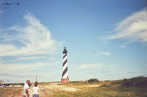 PRE MOVE: Walking towards Hatteras lighthouse.