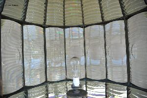 One-hundred watt bulb inside the first order Fresnel lens.