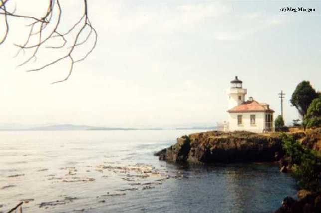 Photo of the Lime Kiln Lighthouse.