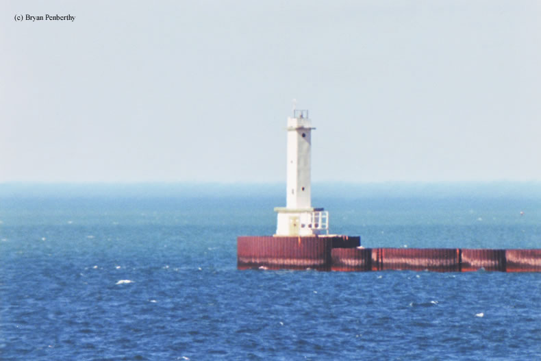 Photo of the Lorain East Breakwater Lighthouse.