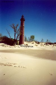 The lighthouse from up the beach.