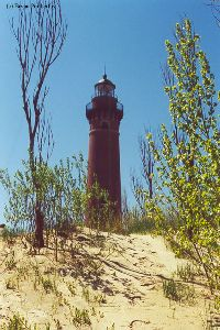 Lighthouse through the dunes and trees.