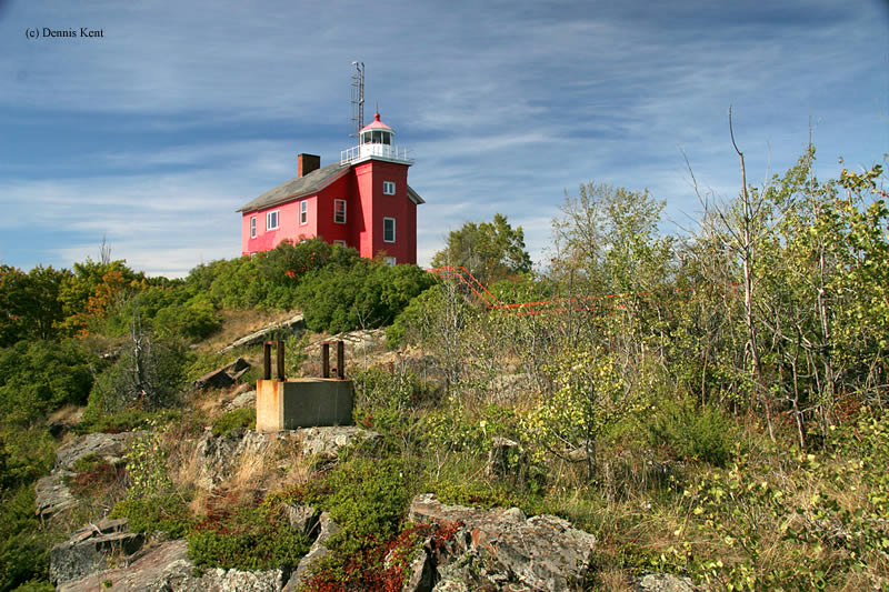 Photo of the Marquette Harbor Lighthouse.