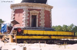 DURING MOVE: The tower entrace and the control station to monitor the tower