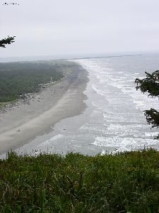 The ocean beach looking towards the Columbia River.
