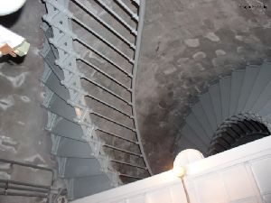 Looking up at the spiral stairs