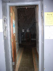 Looking from the main entrance towards the stairs to climb the tower.