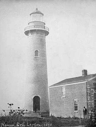 Photo of the 1858 Erie Land Lighthouse courtesy the National Archives
