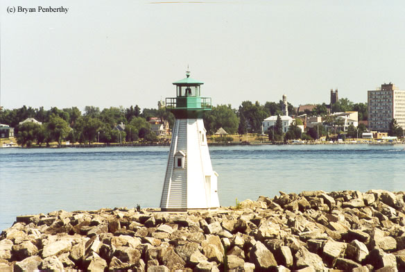 Photo of the Prescott Breakwater Lighthouse.