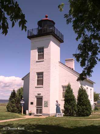 Photo of the Sand Point Lighthouse.