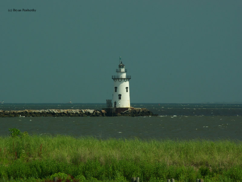 Photo of the Saybrook Breakwater Lighthouse.