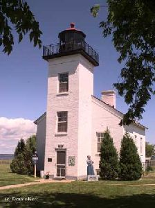 Beautiful close up of the Sand Point Lighthouse.
