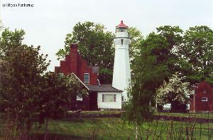 Shot of the lighthouse and quarters from the rear.