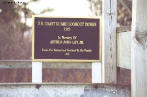 USCG lookout tower plaque.