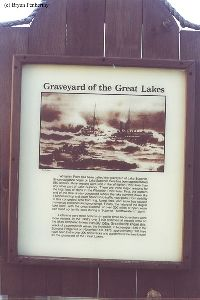 Graveyard of the Great Lakes sign. Over 550 wrecks!