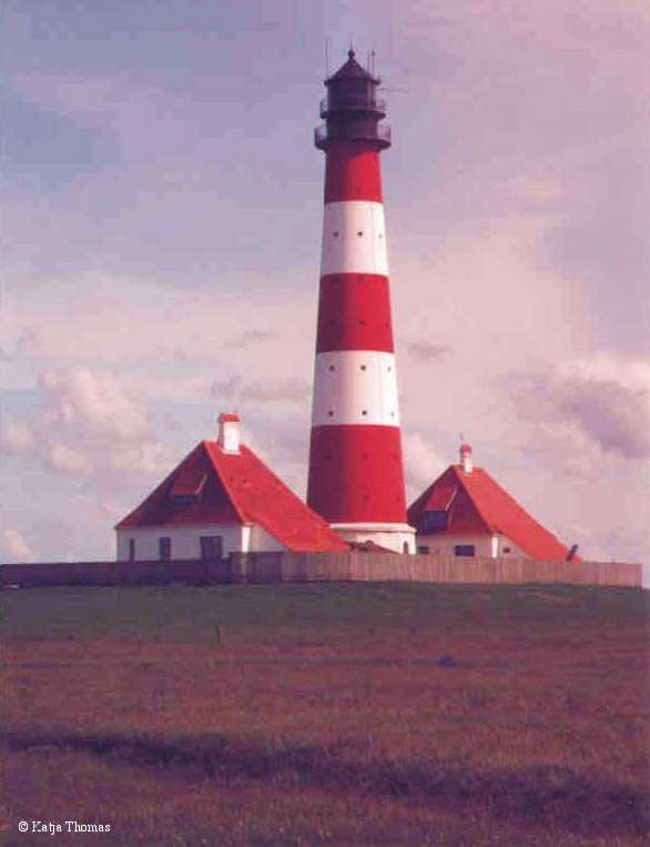 Photo of the Westerheversand Lighthouse.